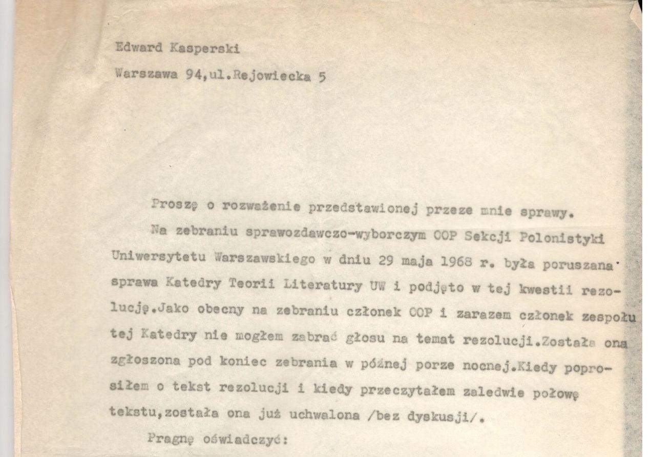 1968 r., list w obronie relegowanych badaczy
